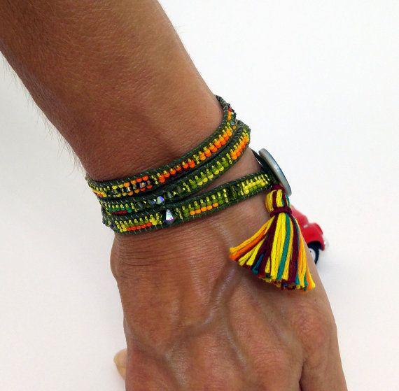Wrap Bracelet, Beadwoven Bracelet, Swarovski Kristal Bracelet, Beaded Bracelet, Jasper Bracelet, Southwest Jewelry, Turquoise Bracelet