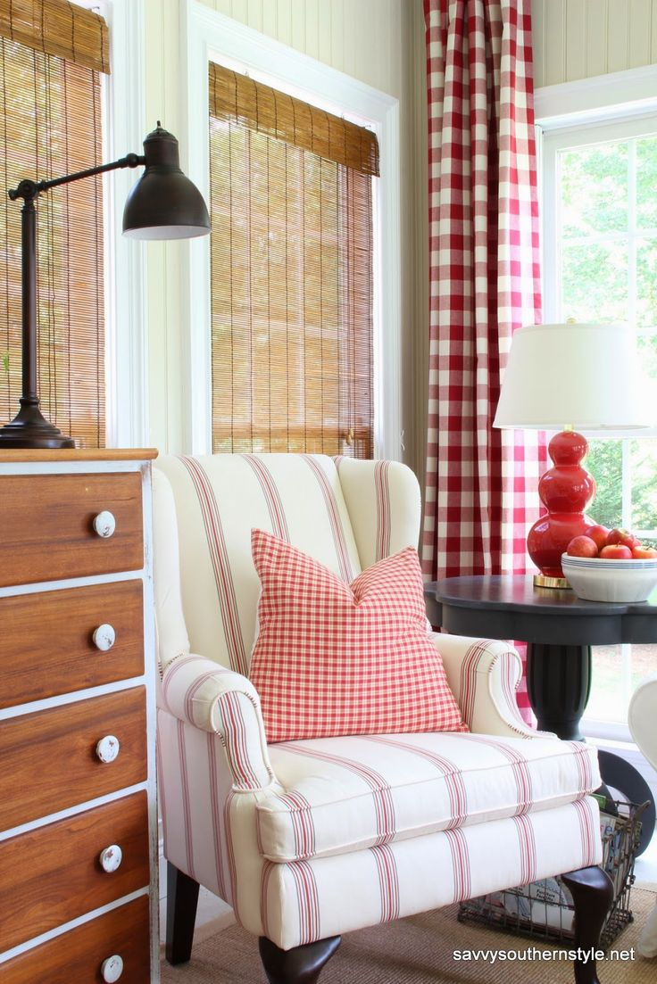 Pottery Barn Gramercy chair in American stripe, countrycurtains.com buffalo check curtains, sun room