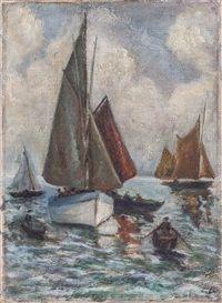 Fischerboote vor Hiddensee von Elisabeth Büchsel
