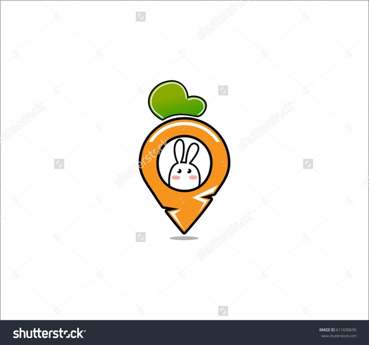 Cute  Rabbit Bunny and Carrot logo , stock vector logo