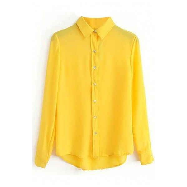 Yellow Long Sleeve Single Breast Chiffon Blouse (17 CAD) ❤ liked on Polyvore featuring tops, blouses, chiffon blouse, yellow shirt, yellow chiffon top, long sleeve tops and yellow top