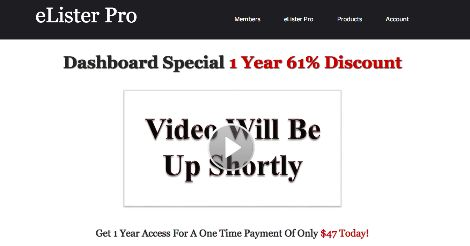 Click Here To Activate Your eLister Pro  1 Year Access for a One Time Payment of $47 Dollars
