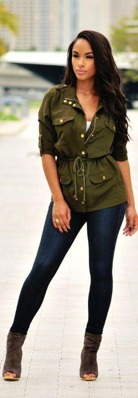 Olive Military Drawstring Jacket / Fashion By Hot Miami Styles