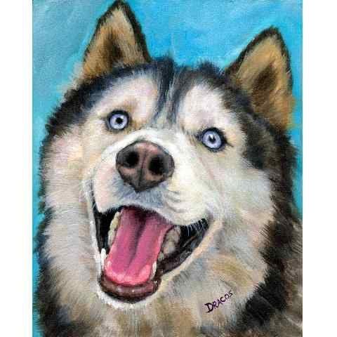 Siberian Husky Dog Art CLEARANCE 8x10 Print of by DottieDracos