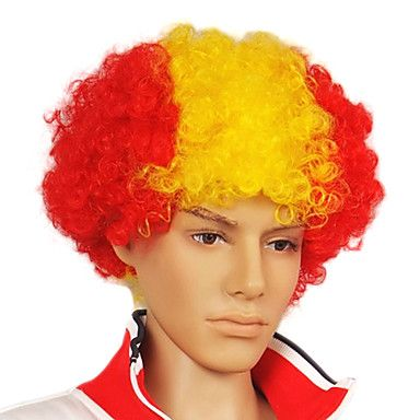 Capless Football Fans Party Wig(Spanish Flag Colors)