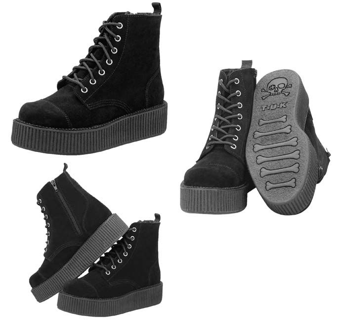 Black Suede 7 Eye Womens Viva Mondo Creeper Boot by Tred Air UK
