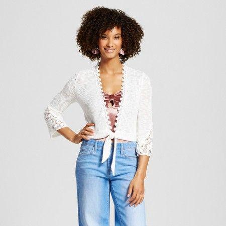 Women's Textured Tie Front Bolero Sweater - Almost Famous (Juniors') : Target