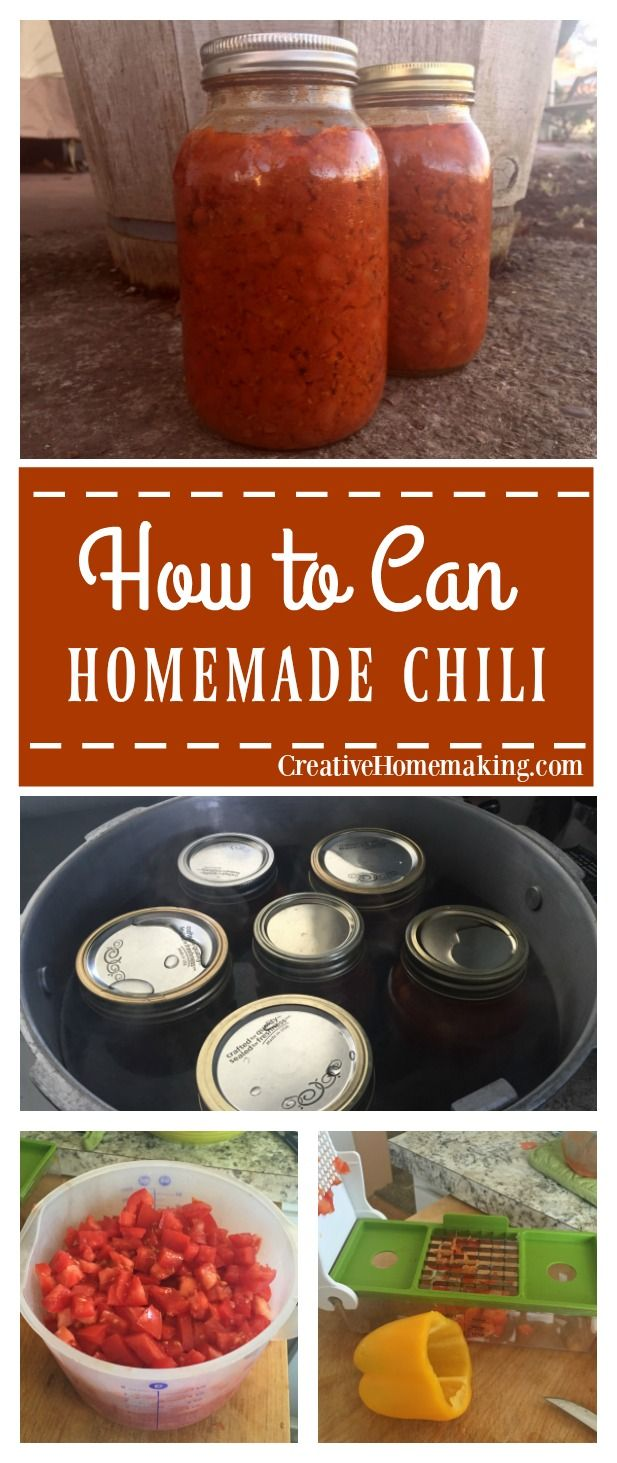 Recipe for canning homemade chili.
