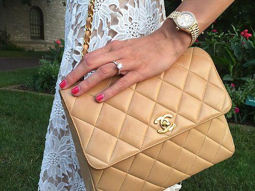 Rehearsal Dinner Dress | High Heel Hydrangeas  Camel Chanel Purse Gold Rolex White Lace  instagram.com/highheelhydrangeas