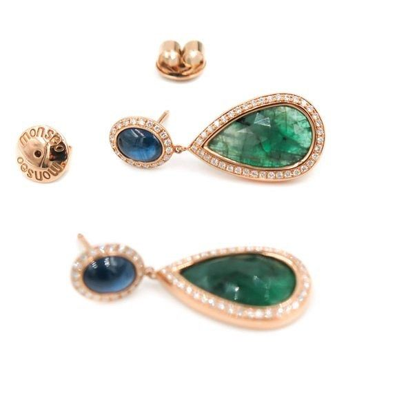 Pink gold earrings with diamonds, blue saphires and emeralds.  Monseo is at Grenon's of Newport.