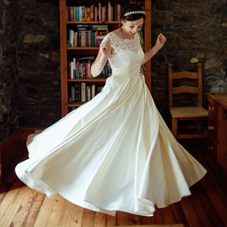Simple Long A Line Cap Sleeve Train Lace Wedding Dresses: Best 25+ Satin Wedding Gowns Ideas On Pinterest