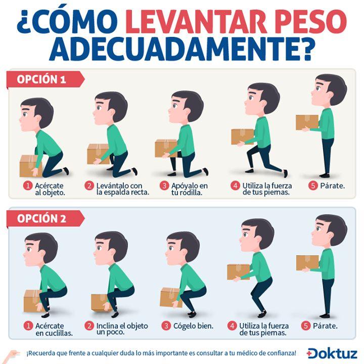 ¿Cómo levantar peso adecuadamente? https://doktuz.com/wikidoks/prevencion