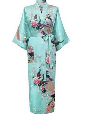 Satin Kimono Print Night Robe- Plus Sizes Available  96a2bd8dd