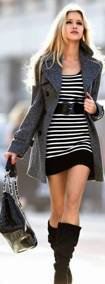 Teenage Fashion Blog: Stripped Dress with cozy grey coat | street style