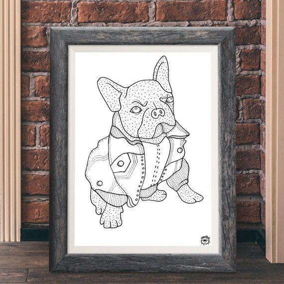 Dot French Dog A4 A5 illustration print art dog print by mmuffn