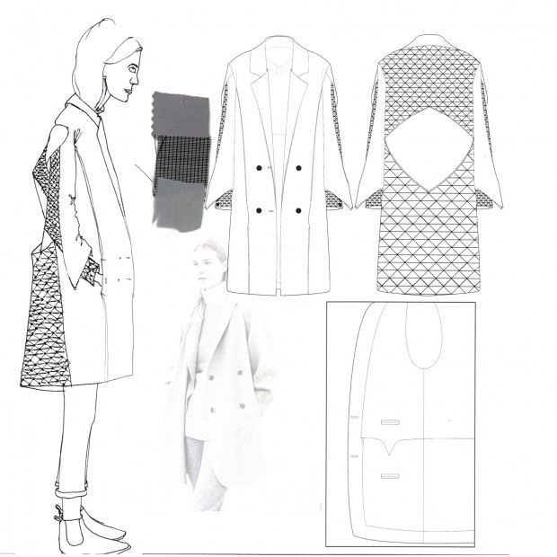 Fashion Sketchbook - smocked jacket design, fashion drawings, fashion portfolio // Faiza Matovu