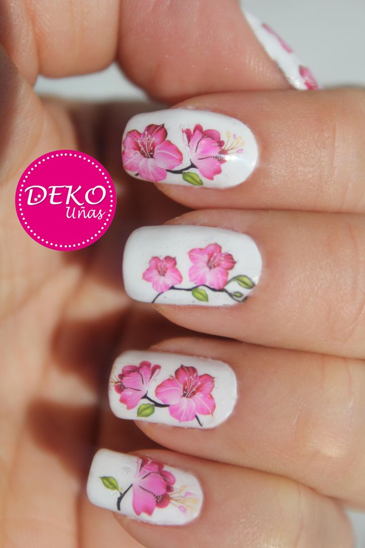 Nail Art Flores Sticker de Agua