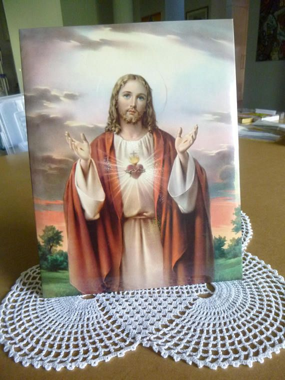 Retro Vintage tin framed picture with stand. Jesus Sacret