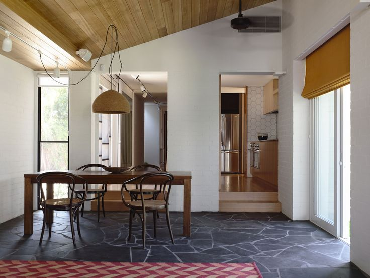 Colour/ Material inspiration - Main Entry: Tas Oak ceiling, Existing Brick Painted White, Floor Paving Natural Stone or Cement