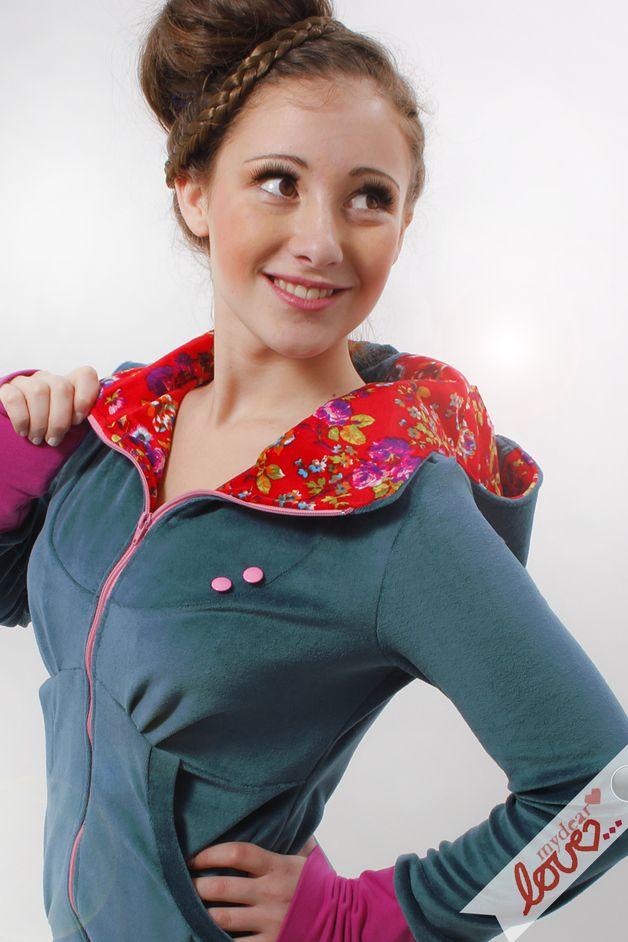 "Sweat Hoodie ""Elisa"" Petrol Nicki fiori rossi - un prodotto unico di mydearlove su DaWanda"
