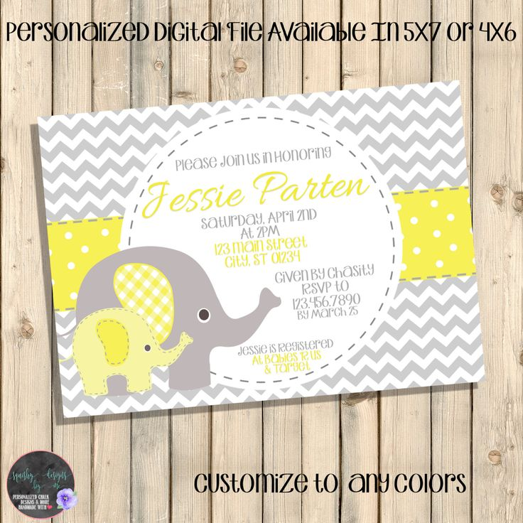 Yellow And Grey Baby Shower Invitation, Yellow And Grey