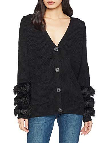 27e107a96c New Look Women s Faux Fur Cuff Cardigan Black 8 (Size 51)