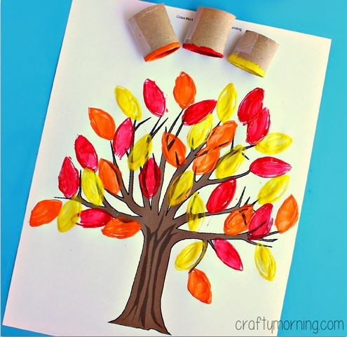 fall tree toilet paper roll craft