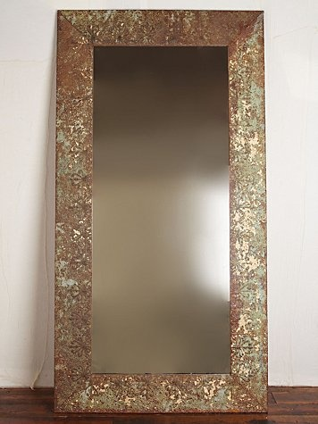 vintage 1920s large tin framed mirror frame is made out of old antique tin ceilings