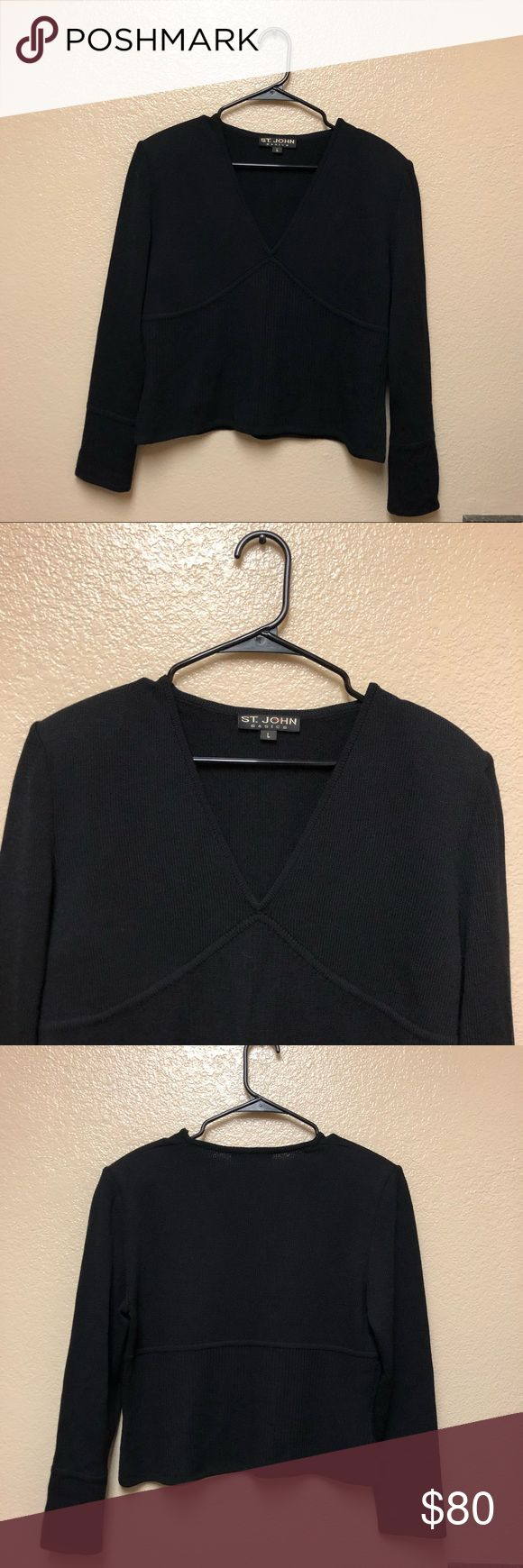 St. John Basic Women's V-Neck Ribbed Sweater Lrg St. John Basic Women's Large V-Neck Sweater Black Ribbed Knit size large in great condition! Sweaters V-Necks