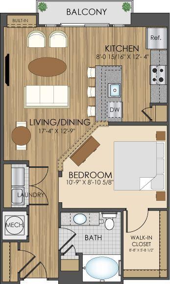 Grundrisse der Hidden Creek Apartments in 750 sf: …