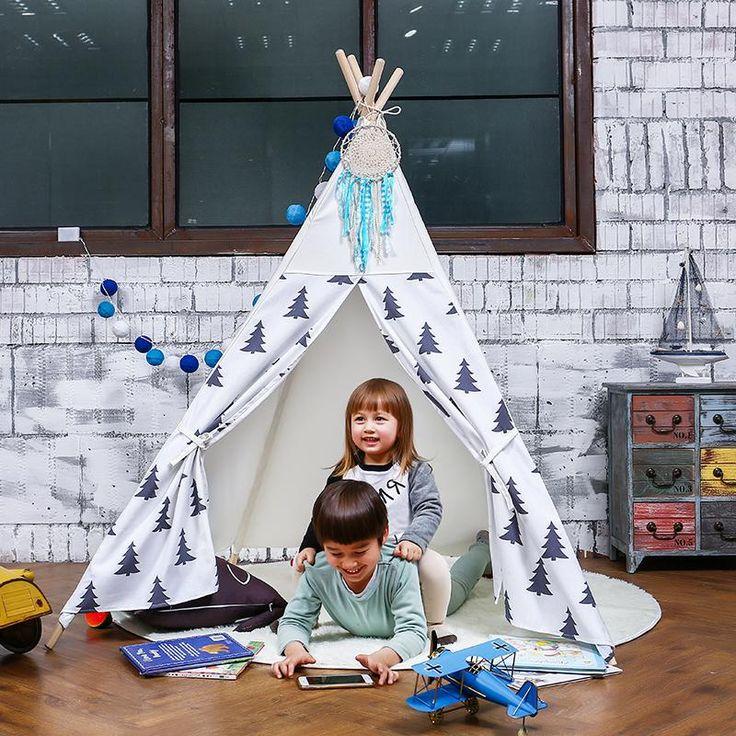 LoveTree LoveTree 4-Pole Teepee Kids Indoor Princess Play House Tent Black White Trees (CL_CRS600958) - Alt Image 2