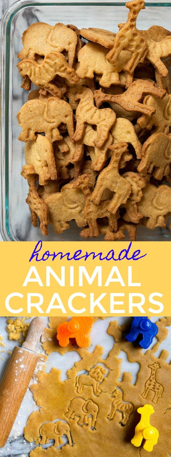 Homemade Animal Crackers Cookies for kids. Better than store-bought kids snacks! Healthy after school snacks for kids. Kid friendly cookies.