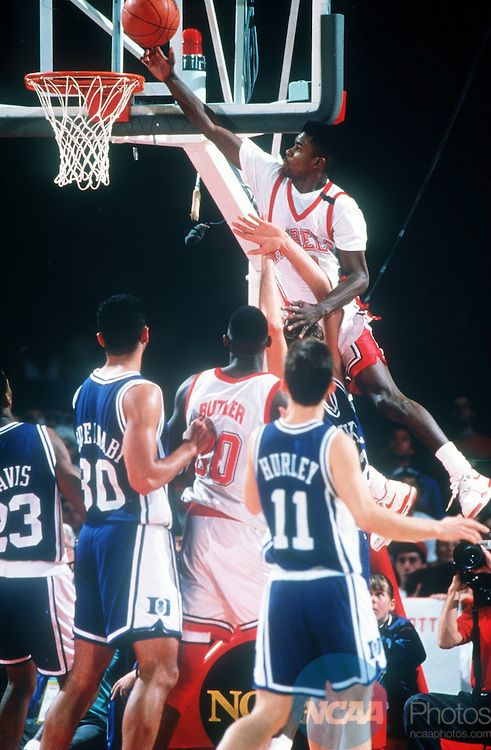 2 APR 1990: UNLV guard Anderson Hunt (12) leaps to the basket during the NCAA National Basketball Championship game against Duke University at McNichols Arena in Denver, CO. UNLV defeated Duke 103-73 to win the championship title.