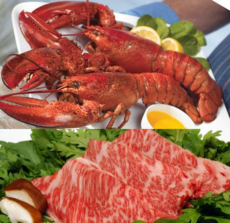 Lobster Gram Surf & Turf Gram for 2 with lb Lobsters & 8 oz Flat Iron Kobe Steaks