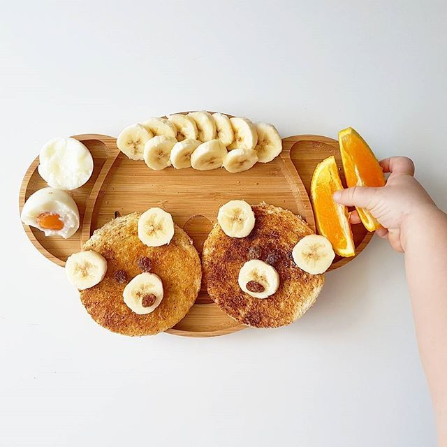 Teddy bear toast for breakky this morning with soft boiled egg, banana and oranges.  5 minutes ago i asked her if she was hungry and she said no, the moment i put the plate down she attacked it  Watch our story for tbe live version  . .