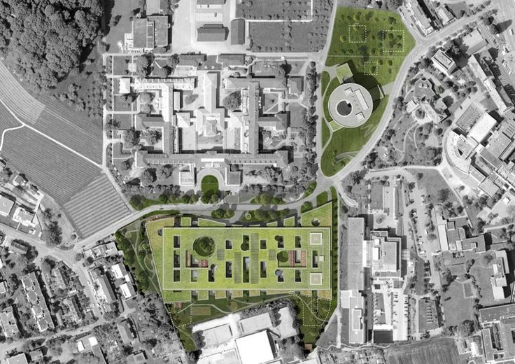 Children's Hospital Zürich / Herzog & de Meuron -Übersichtsplan mit Foto