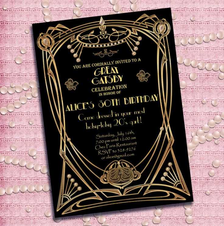 62 best images about The Great Gatsby invitationstemplatesfonts – Great Gatsby Party Invitation