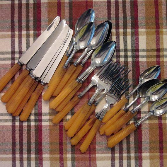 vintage bakelite silverware set