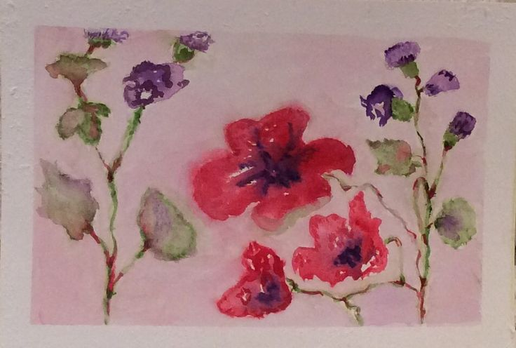 Flowers wet on wet watercolor