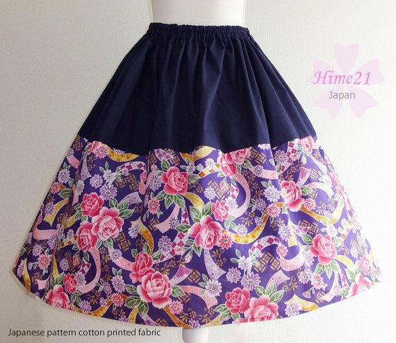 Japanese pattern cotton Skirt Purple Rose andNavy Blue  by Hime21, ¥5500