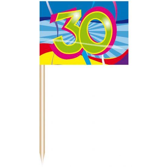 50 stuks cocktail prikkers 30 jaar  Cocktail prikkers 30 jaar. De cocktail prikkers zijn verpakt per 50 stuks. Formaat cocktail prikkers 30 jaar is ongeveer 7 cm. Perfect als decoratie voor een 30 jarig verjaardags feestje of huwelijk.  EUR 1.99  Meer informatie