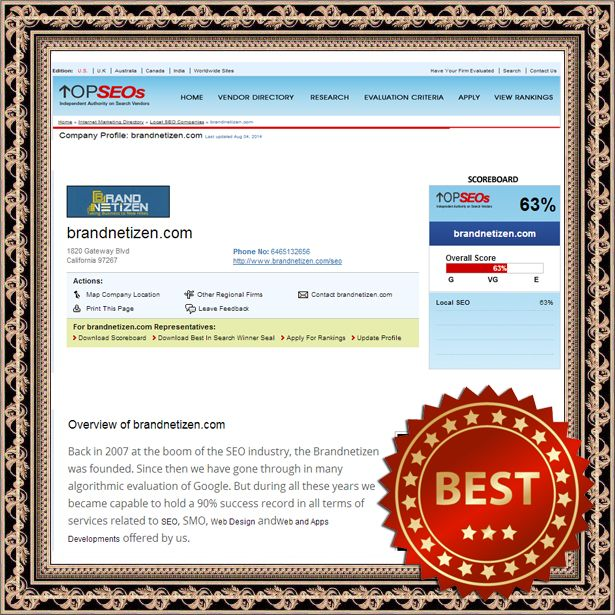 We have featured on the TOPSEOs as the #64 Best #LocalSEO Company, August 2014. Check the link below to see our profile there and comment, review and do whatever you can to show us some support.