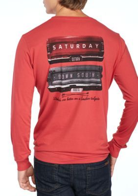 Saturday Down South Men's Long Sleeve Pocket Tee Gates Of Glory - Crimson - 2Xl