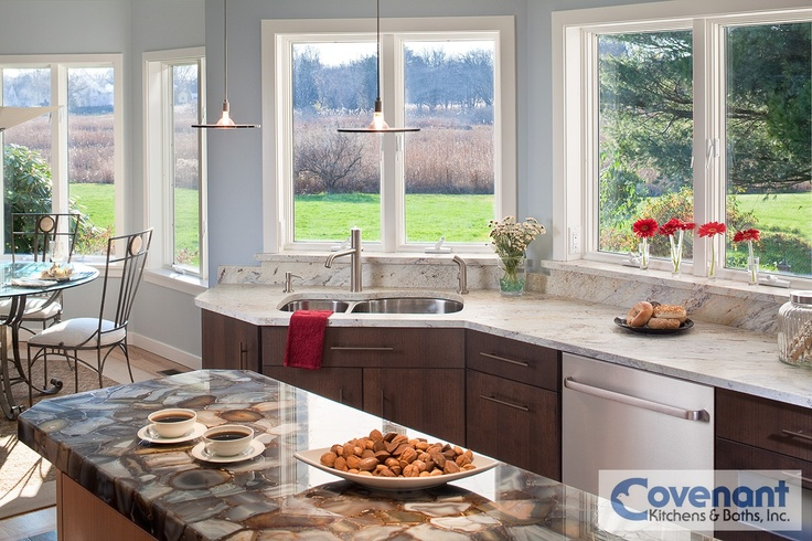 This spacious kitchen features a unique back-lit counter