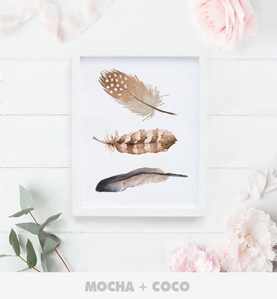 Feathers Printable PosterFloral feather Feather by MochaAndCoco