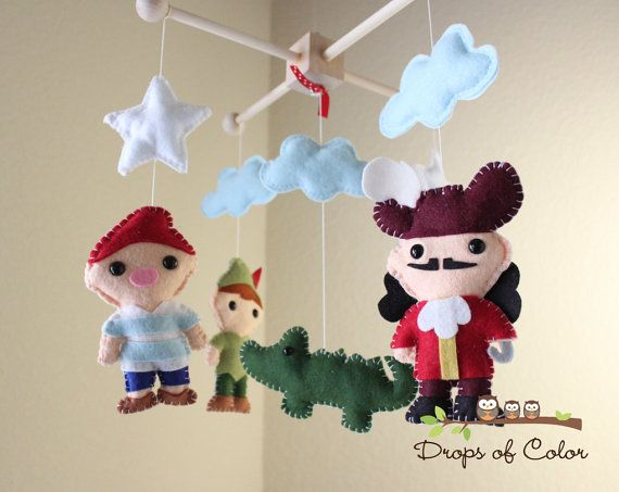 Baby Mobile - Baby Crib Mobile - Peter Pan Captain Hook Pirate Mobile - Nursery Peter Pan Mobile (You Pick The Characters of your choice)