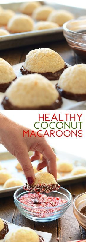 Healthy Coconut Macaroons Dipped in Chocolate and Peppermint - a healthy Christmas cookie your family will  love!