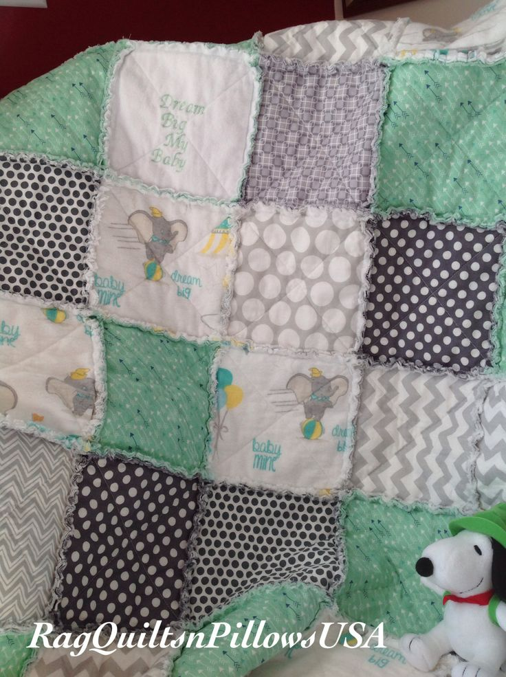 Dumbo Embroidered Baby Blanket - Mint Green Grey Baby Rag Quilt - Homemade Baby Boy Quilt - Handmade Baby Girl Quilt - Elephant Crib Bedding by RagQuiltsnPillowsUSA on Etsy