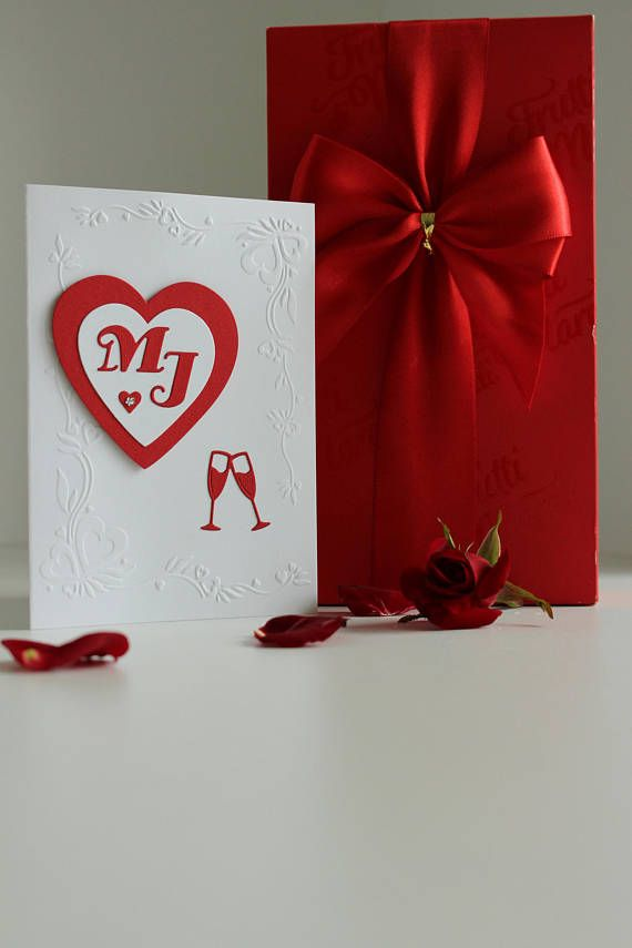 White and red wedding card 3D Personalized Card Handmade