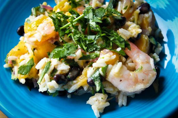 Jamaican rice salad- try subbing turkey for the shrimp